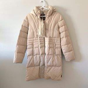 MONCLER Cream Quilted Knee-Length Coat